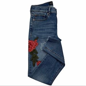 Express | Floral Embroidered Ankle Legging Jeans